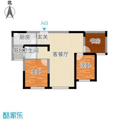 金海名园85.69㎡17#18#B户型3室3厅1卫1厨