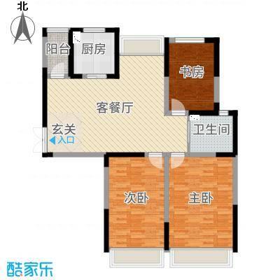 金海名园111.06㎡17#18#C户型3室3厅1卫1厨