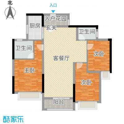 西湖怡景园二期118.00㎡B户型3室3厅2卫1厨