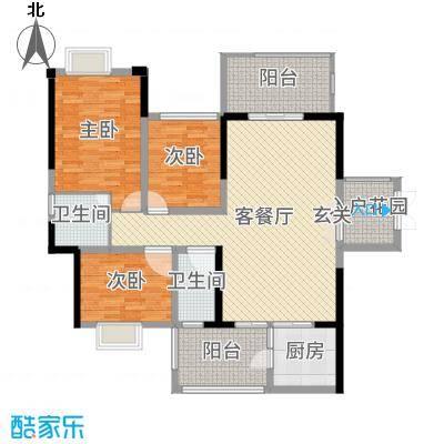 万和乐华花园139.00㎡1号楼2号楼17-户型3室3厅2卫1厨