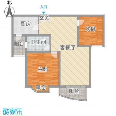 翔宇壹号103.82㎡一期8#楼标准层02户型2室2厅1卫1厨