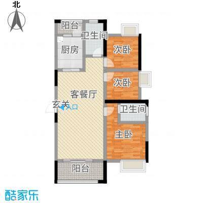 长城雅苑二期120.82㎡2#E户型3室3厅2卫1厨