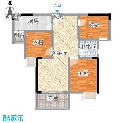 中铁城锦南汇91.00㎡3期6、9号楼B户型3室3厅1卫1厨