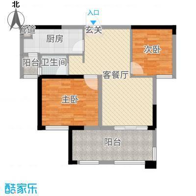 中铁城锦南汇80.00㎡7号楼标准层F户型2室2厅1卫1厨