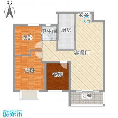 昊和沁园99.00㎡31#32#A2南户户型3室3厅1卫1厨