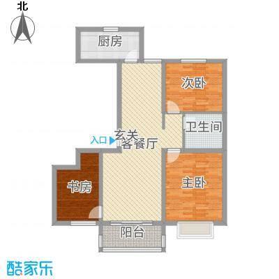 昊和沁园108.00㎡29#30#D2中间户户型3室3厅1卫1厨
