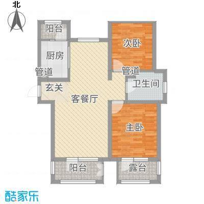 香邑溪谷89.00㎡高层E1户型2室2厅1卫1厨