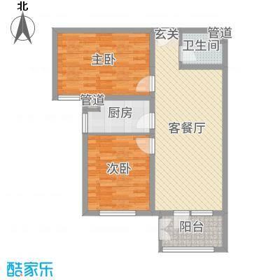 香邑溪谷86.00㎡高层F3户型2室2厅1卫1厨
