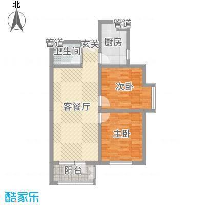 香邑溪谷86.00㎡高层F2户型2室2厅1卫1厨