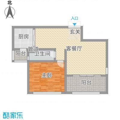神州河畔景苑83.00㎡一期小高层c1户型1室1厅1卫1厨
