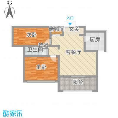 神州河畔景苑86.00㎡一期小高层a5户型2室2厅1卫1厨