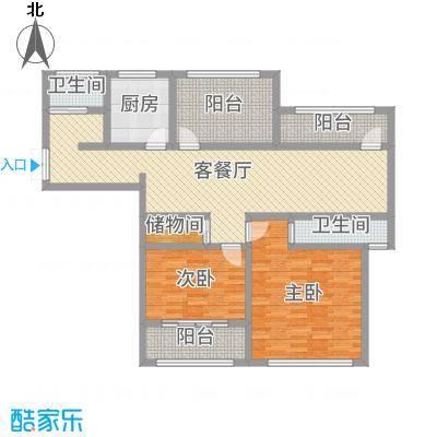 神州河畔景苑122.00㎡一期小高层e2户型2室2厅1卫1厨