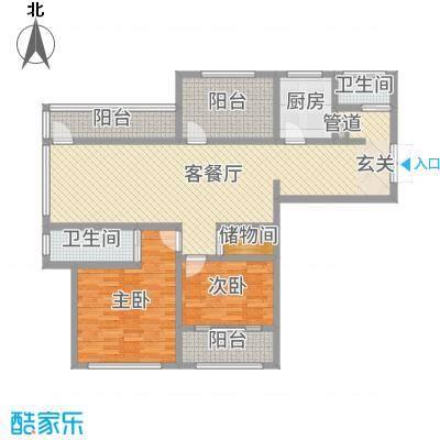 神州河畔景苑122.00㎡一期小高层c2户型2室2厅2卫1厨