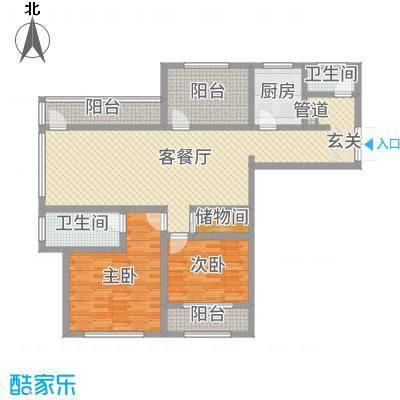 神州河畔景苑124.00㎡一期小高层a2户型2室2厅2卫1厨