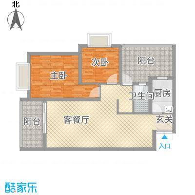富中蝴蝶谷89.16㎡二期3号楼C户型2室2厅1卫1厨