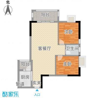 景峰家园83.06㎡T1-E户型2室2厅1卫1厨