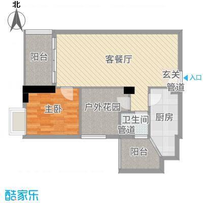 明福智富广场72.00㎡1座04单元户型2室2厅1卫1厨