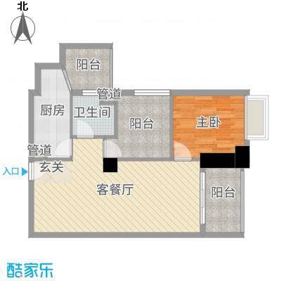 明福智富广场73.00㎡3座03单元户型2室2厅1卫1厨