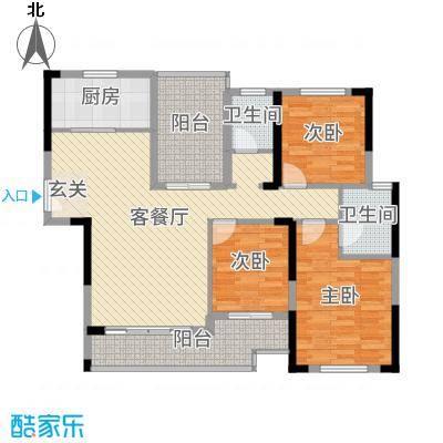 城南时代119.74㎡3栋02户型3室3厅2卫1厨
