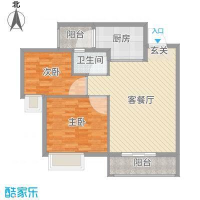 友田碧云轩80.32㎡6栋2-8层02户型2室2厅1卫1厨