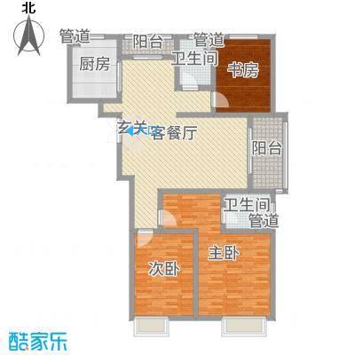 江城逸品141.55㎡1#2#3#T-2户型3室3厅2卫1厨