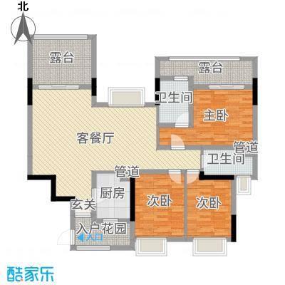 凯德天伦世嘉121.55㎡C合并平面图4户型3室3厅2卫1厨