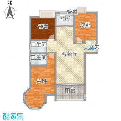 金湖国际128.16㎡5#楼A2户型2室2厅1卫1厨