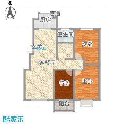 升龙苑127.35㎡3#D户型3室3厅1卫1厨