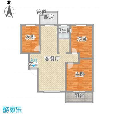 升龙苑127.60㎡1#B户型3室3厅1卫1厨