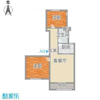 绿城南湖春晓95.49㎡三期111、114、115、117号楼标准层B1户型2室2厅1卫1厨