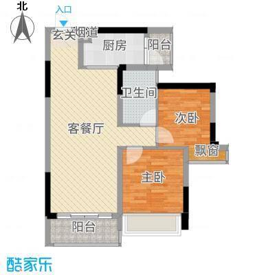 佳兆业东江豪门80.00㎡29栋标准层05/06户型2室2厅1卫1厨