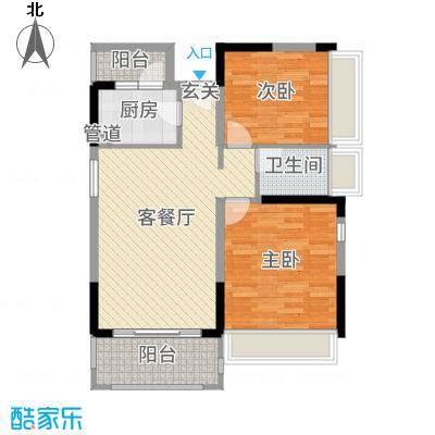 佳兆业东江豪门87.01㎡2栋标准层03户型2室2厅1卫1厨
