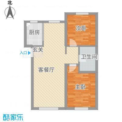 联想科技城三期89.00㎡住宅标准层E户型2室2厅1卫1厨