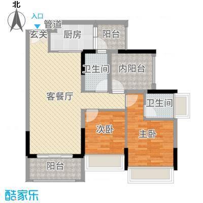 佳兆业东江豪门89.74㎡20栋标准层03户型2室2厅2卫1厨
