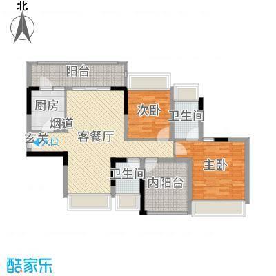 佳兆业东江豪门97.12㎡19栋标准层03户型2室2厅2卫1厨