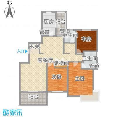 运杰龙馨园152.58㎡12#楼A户型3室3厅2卫1厨
