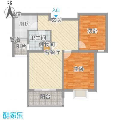 运杰龙馨园85.00㎡3#楼C2户型2室2厅1卫