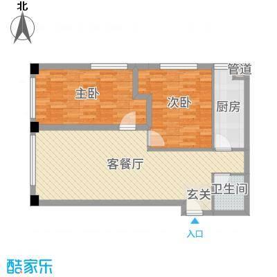 澳景蓝湾87.46㎡5、6号楼A户型2室2厅1卫