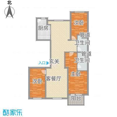 绿城南湖春晓136.67㎡三期115、117号楼标准层C1户型3室3厅2卫1厨