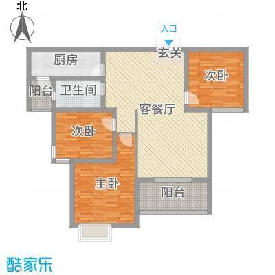 锦江・城市花园二期117.75㎡R户型3室3厅1卫1厨