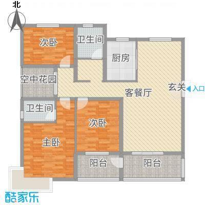 锦江・城市花园二期142.32㎡M户型3室3厅2卫1厨