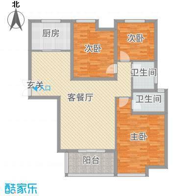 锦江・城市花园二期128.23㎡O户型3室3厅2卫1厨