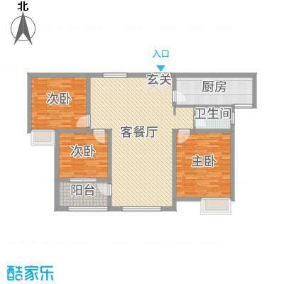锦江・城市花园二期119.26㎡三期F户型3室3厅1卫1厨