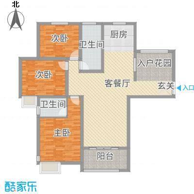 锦江・城市花园二期134.91㎡三期C户型3室3厅2卫1厨