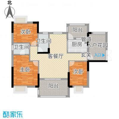 富盈WO城121.00㎡7栋1单元01标准层双鱼座户型3室3厅2卫1厨
