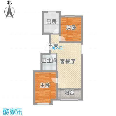 龙TOWN88.34㎡H9两居户型2室2厅1卫1厨