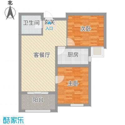 龙TOWN83.41㎡H18两居户型2室2厅1卫1厨