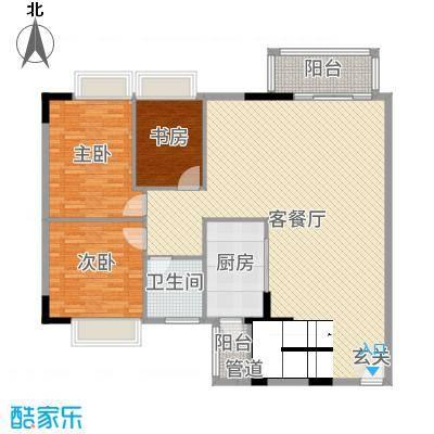 华南御景园150.20㎡A栋大复式下层户型3室3厅1卫1厨