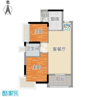 鼎峰尚境85.00㎡4栋标准层C5户型2室2厅1卫1厨