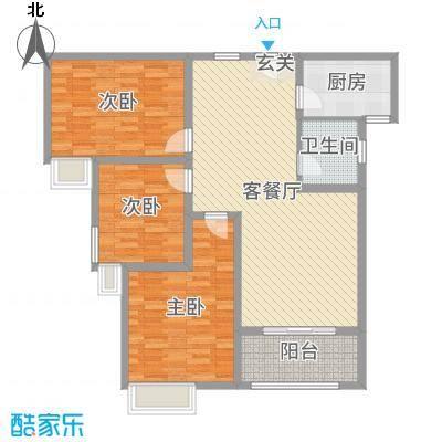 锦江・城市花园二期114.88㎡三期H户型3室3厅1卫1厨